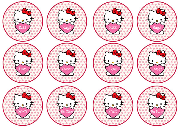 hello kitty valentines day cupcake toppers