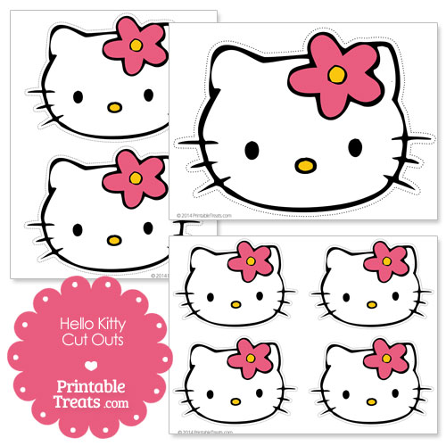 Hello Kitty wearing a flower cut outs