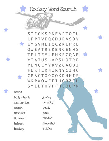 hockey word search for kids