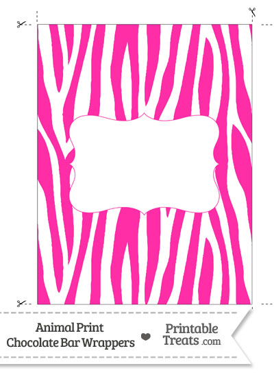 Hot Pink and White Zebra Print Chocolate Bar Wrappers from PrintableTreats.com