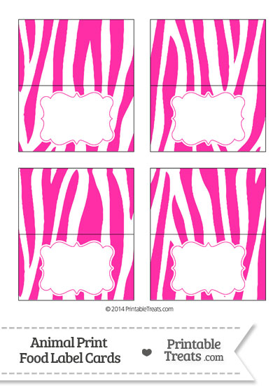 Hot Pink and White Zebra Print Food Labels from PrintableTreats.com