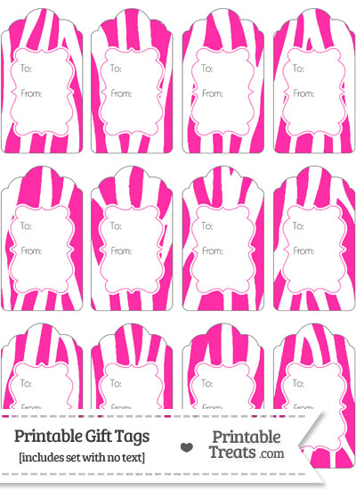 Hot Pink and White Zebra Print Gift Tags from PrintableTreats.com