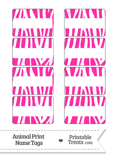 Hot Pink and White Zebra Print Name Tags from PrintableTreats.com