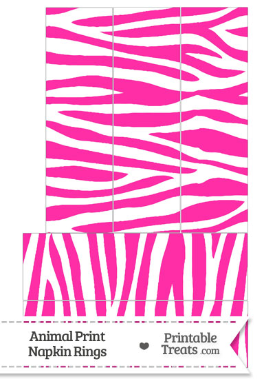 Hot Pink and White Zebra Print Napkin Rings from PrintableTreats.com