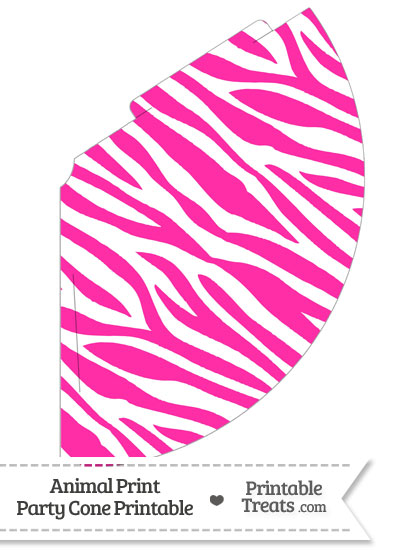 Hot Pink and White Zebra Print Party Cone from PrintableTreats.com