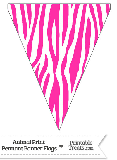 Hot Pink and White Zebra Print Pennant Banner Flag from PrintableTreats.com