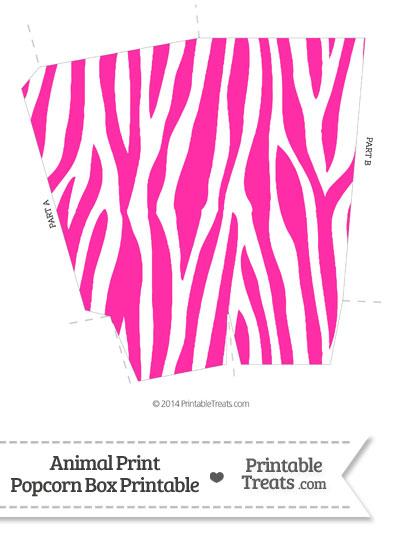 Hot Pink and White Zebra Print Popcorn Box from PrintableTreats.com