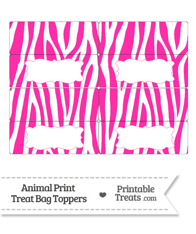 Hot Pink and White Zebra Print Treat Bag Toppers from PrintableTreats.com