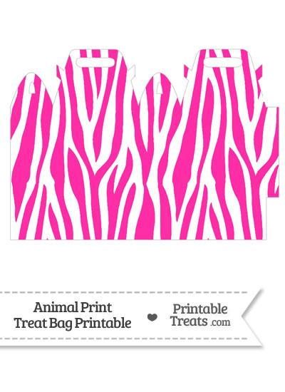 Hot Pink and White Zebra Print Treat Bag from PrintableTreats.com