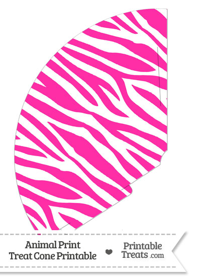 Hot Pink and White Zebra Print Treat Cone from PrintableTreats.com
