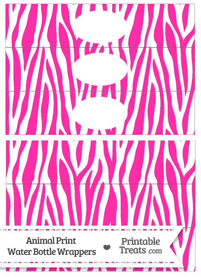 Hot Pink and White Zebra Print Water Bottle Wrappers from PrintableTreats.com