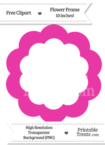 Hot Pink Flower Frame Clipart from PrintableTreats.com