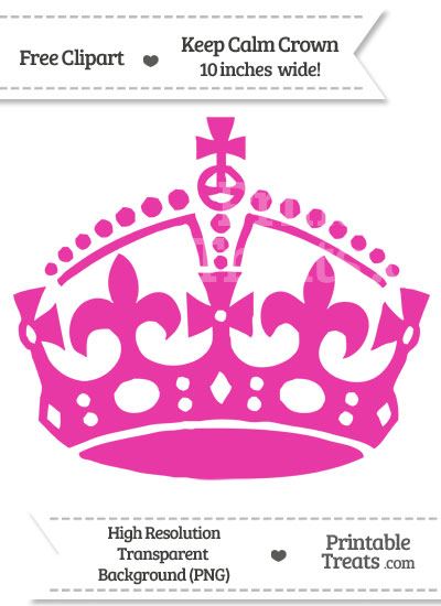 Hot Pink Keep Calm Crown Clipart from PrintableTreats.com