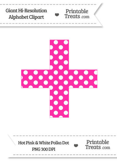 Hot Pink Polka Dot Addition Sign Clipart from PrintableTreats.com