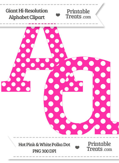 Hot Pink Polka Dot Letter A Clipart from PrintableTreats.com