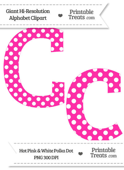 Hot Pink Polka Dot Letter C Clipart from PrintableTreats.com