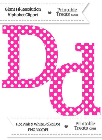 Hot Pink Polka Dot Letter D Clipart from PrintableTreats.com