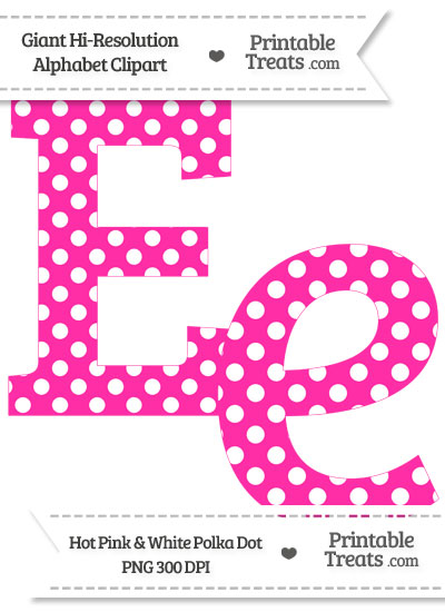 Hot Pink Polka Dot Letter E Clipart from PrintableTreats.com