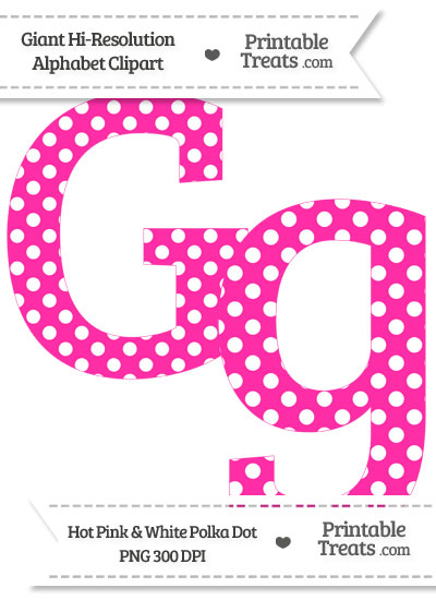 Hot Pink Polka Dot Letter G Clipart from PrintableTreats.com