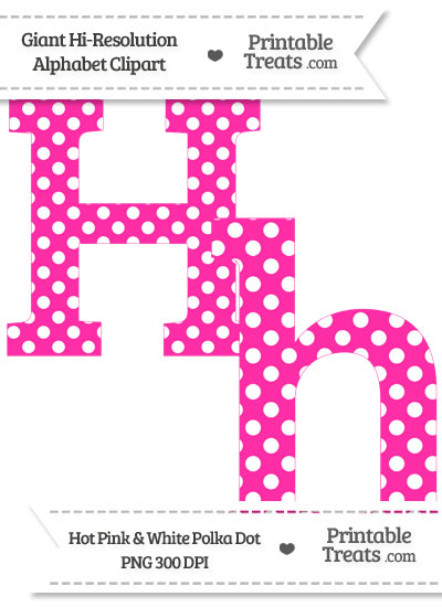 Hot Pink Polka Dot Letter H Clipart from PrintableTreats.com