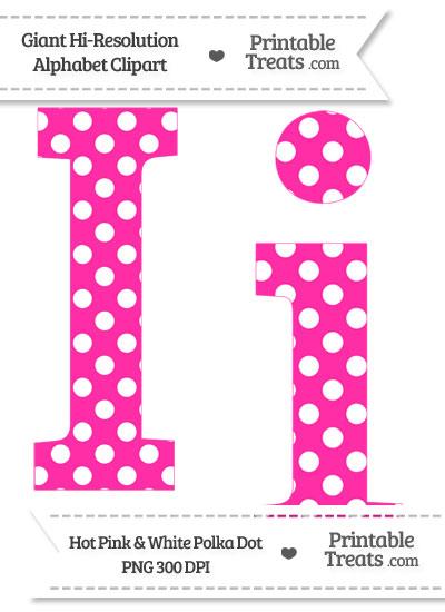 Hot Pink Polka Dot Letter I Clipart from PrintableTreats.com
