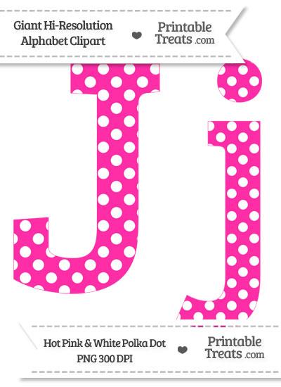 Hot Pink Polka Dot Letter J Clipart from PrintableTreats.com