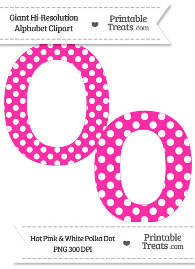 Hot Pink Polka Dot Letter O Clipart from PrintableTreats.com