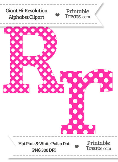 Hot Pink Polka Dot Letter R Clipart from PrintableTreats.com