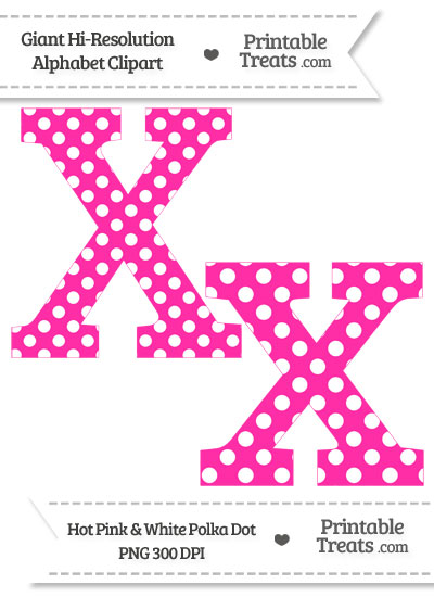 Hot Pink Polka Dot Letter X Clipart from PrintableTreats.com