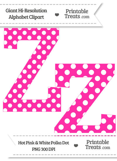 Hot Pink Polka Dot Letter Z Clipart from PrintableTreats.com