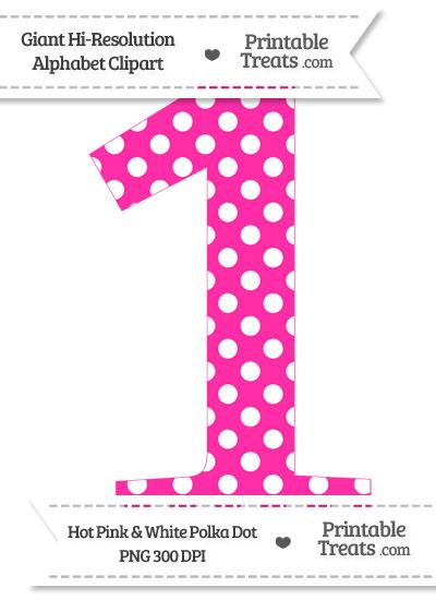 Hot Pink Polka Dot Number 1 Clipart from PrintableTreats.com