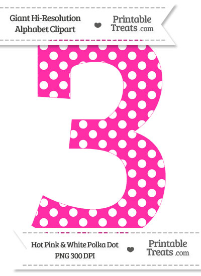 Hot Pink Polka Dot Number 3 Clipart from PrintableTreats.com