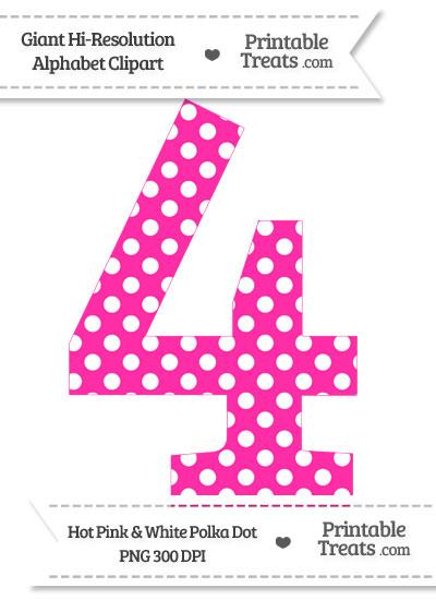 Hot Pink Polka Dot Number 4 Clipart from PrintableTreats.com