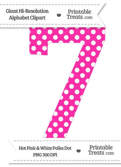 Hot Pink Polka Dot Number 7 Clipart from PrintableTreats.com