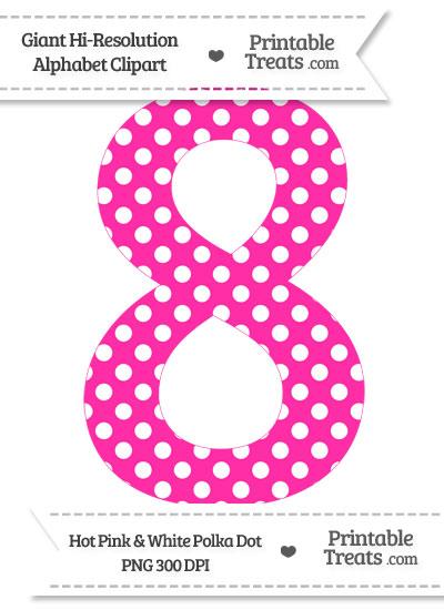 Hot Pink Polka Dot Number 8 Clipart from PrintableTreats.com