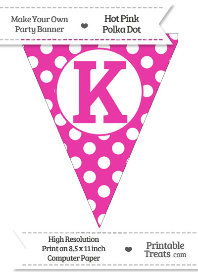 Hot Pink Polka Dot Pennant Flag Capital Letter K from PrintableTreats.com
