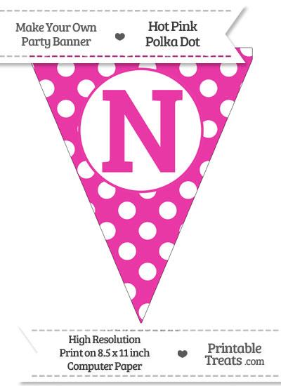 Hot Pink Polka Dot Pennant Flag Capital letter N from PrintableTreats.com