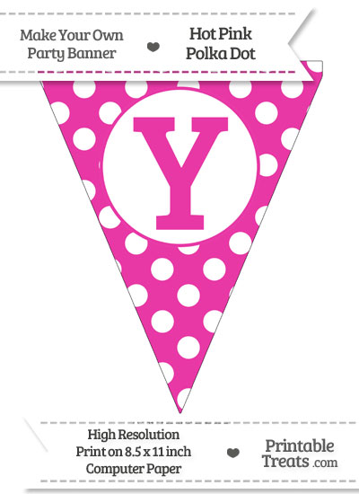 Hot Pink Polka Dot Pennant Flag Capital Letter Y from PrintableTreats.com