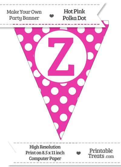 Hot Pink Polka Dot Pennant Flag Capital Letter Z from PrintableTreats.com