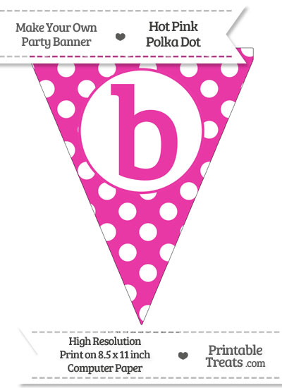 Hot Pink Polka Dot Pennant Flag Lowercase Letter B from PrintableTreats.com