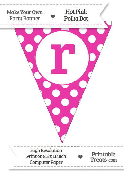 Hot Pink Polka Dot Pennant Flag Lowercase Letter R from PrintableTreats.com
