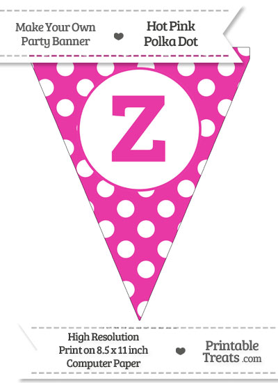 Hot Pink Polka Dot Pennant Flag Lowercase Letter Z from PrintableTreats.com