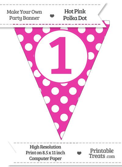 Hot Pink Polka Dot Pennant Flag Number 1 from PrintableTreats.com