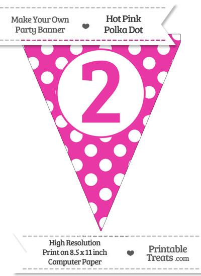 Hot Pink Polka Dot Pennant Flag Number 2 from PrintableTreats.com