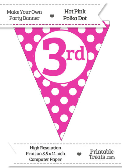 Hot Pink Polka Dot Pennant Flag Ordinal Number 3rd from PrintableTreats.com