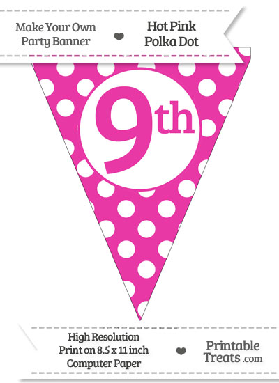 Hot Pink Polka Dot Pennant Flag Ordinal Number 9th from PrintableTreats.com