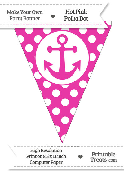 Hot Pink Polka Dot Pennant Flag with Anchor from PrintableTreats.com