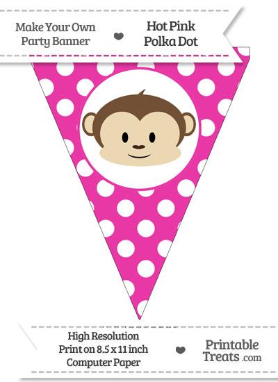 Hot Pink Polka Dot Pennant Flag with Boy Monkey from PrintableTreats.com