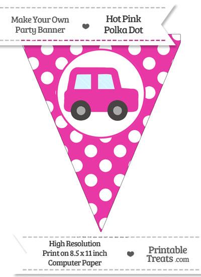 Hot Pink Polka Dot Pennant Flag with Car Facing Right from PrintableTreats.com