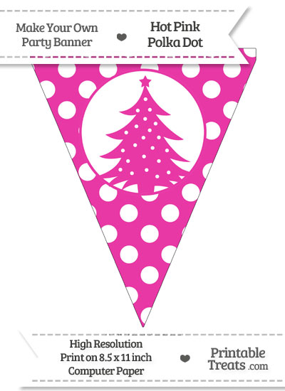 Hot Pink Polka Dot Pennant Flag with Christmas Tree from PrintableTreats.com